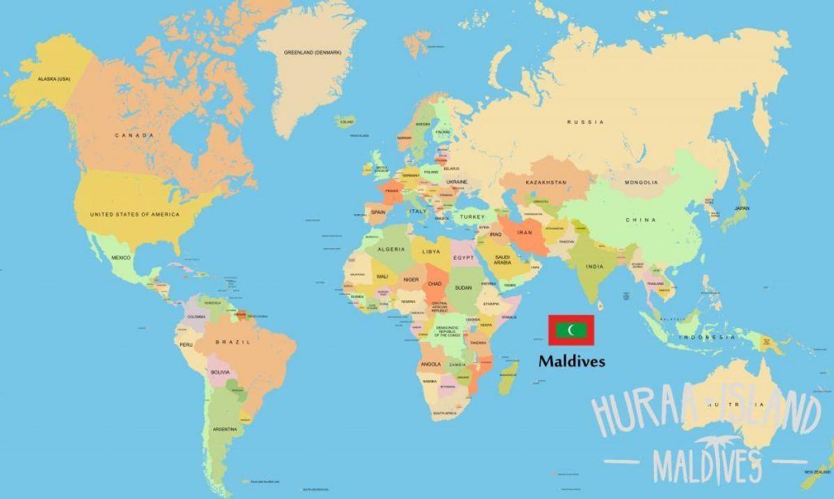 Carte Asie Maldives.Maldives Emplacement Dans La Carte Du Monde La Carte Des Maldives
