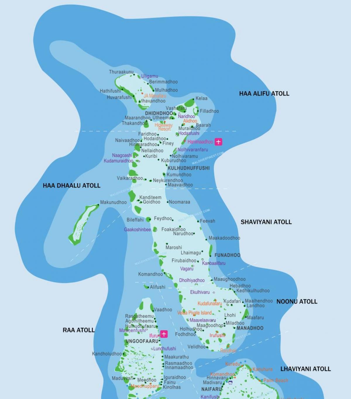 Carte Asie Maldives.Maldives Stations De La Carte Maldives Stations De Carte De La